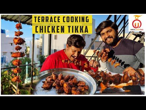 Terrace Cooking Episode 3😄   Viewers choice Chicken Tikka Recipe by Unbox Karnataka