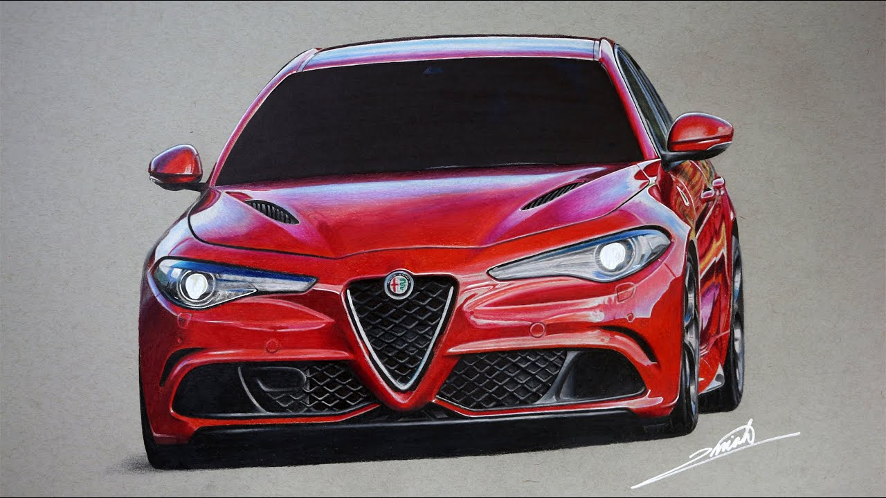 Alfa Romeo Giulietta >> Alfa Romeo Giulia Quadrifoglio Drawing - YouTube