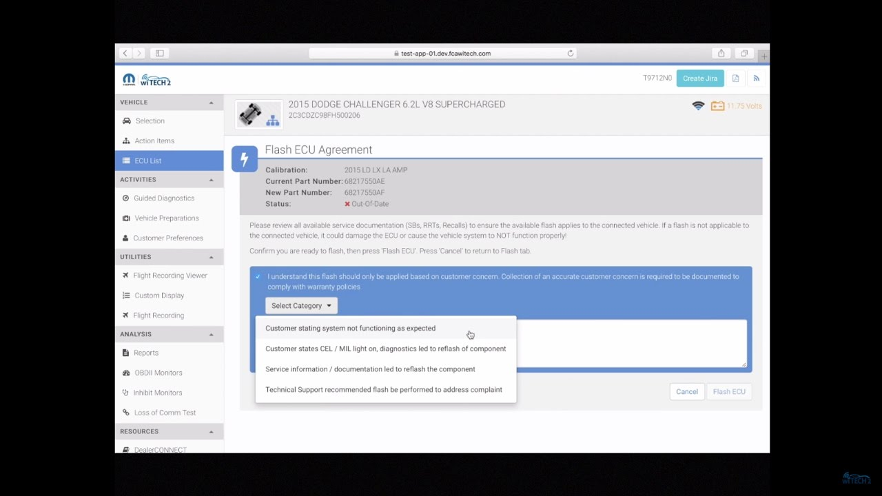 wiTECH 2 0 Essential Flash Management