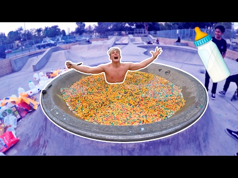 Thumbnail: GIANT CEREAL BATH CHALLENGE! (IN PUBLIC)
