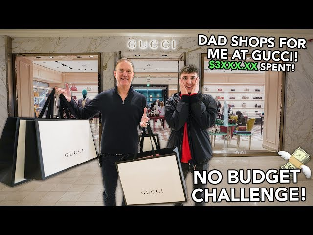 NO BUDGET CHALLENGE At The GUCCI Store! Ft. My Dad ($3XXX.XX Spent)