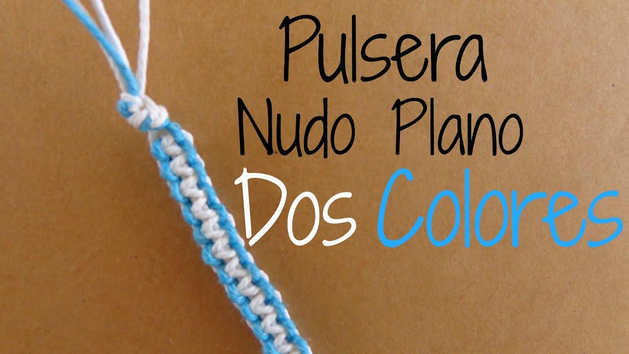 e70dc093b9cb Pulsera Macrame Nudo Plano // Dos colores {Pulseras de Hilo}