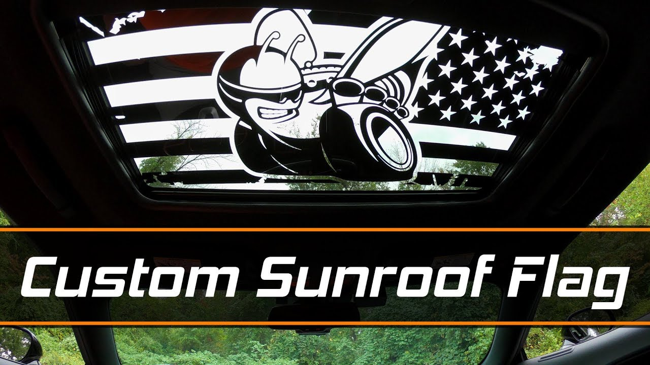 sunroof flag decal install scat pack bee from luxe auto. Black Bedroom Furniture Sets. Home Design Ideas
