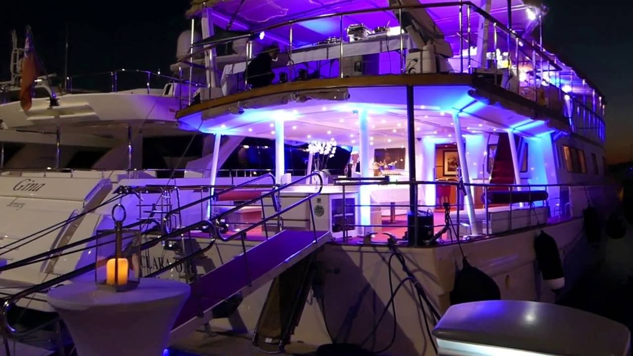 Yacht charter event set-up on board yacht M/Y Clara One