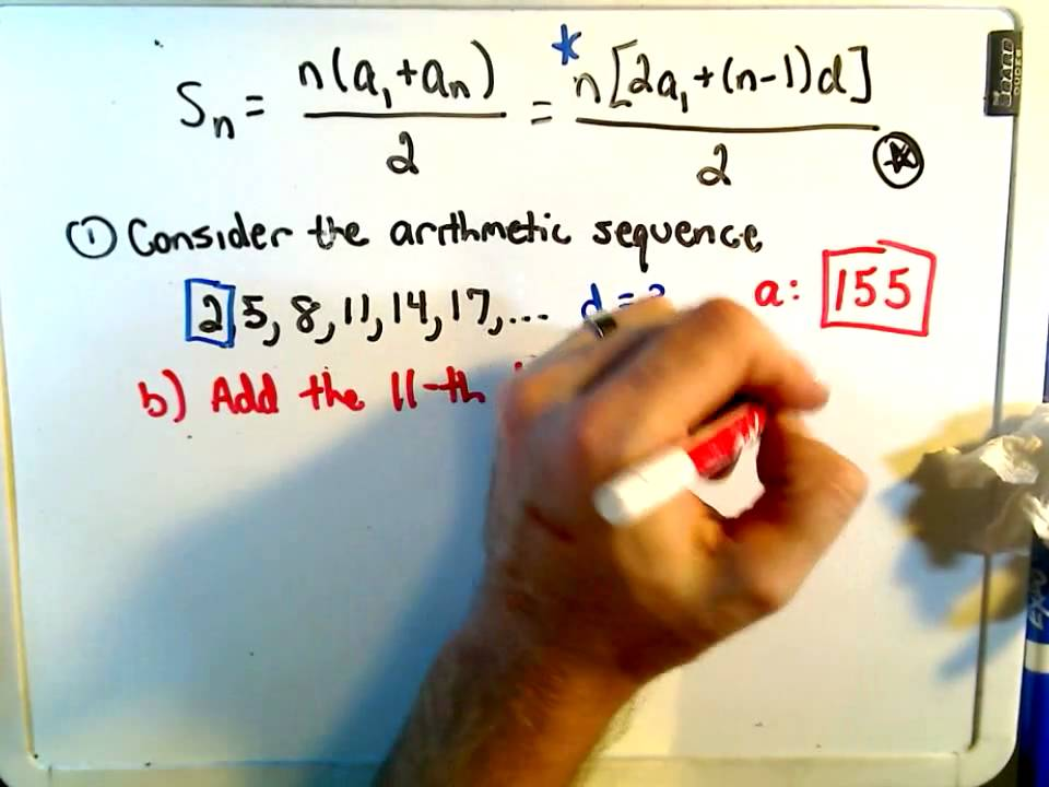 Finding The Sum Of A Finite Arithmetic Series  Youtube