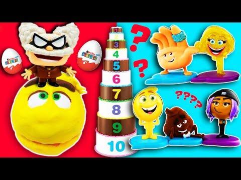 Emoji Movie Layer Cake Toy Surprise Game with Drill N Fill Gene, Smiler, Hi-5, Jailbreak, Blind Bags