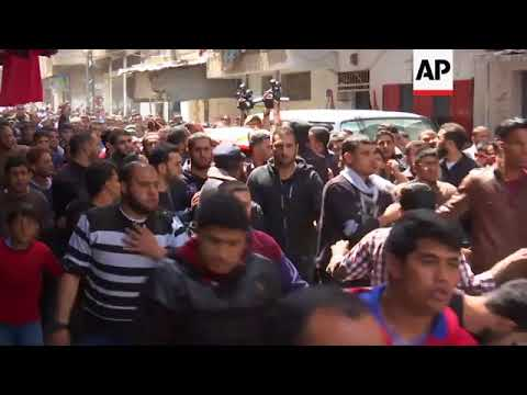Funeral held for Palestinian man killed by Israeli airstrikes