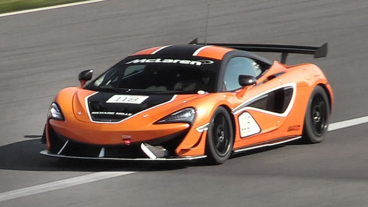 mclaren 570s gt4 in action on track - accelerations, fly bys