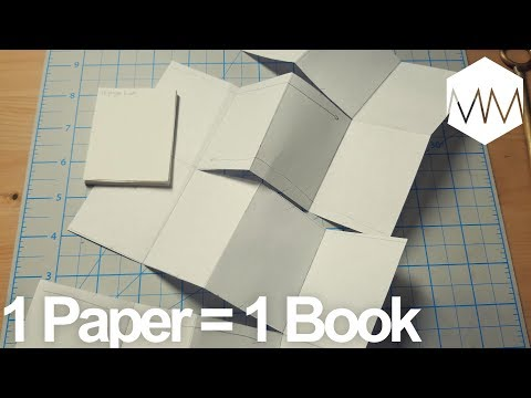 ▲ 18 Page Book from ONE Sheet of Paper // Bookbinding Basics ep. 15 // NO GLUE NO TOOLS
