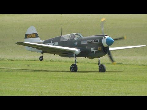 Curtiss P-40 Warhawk ~ Engine start, Takeoff, Display flight, landing
