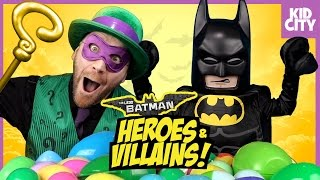 Superhero Surprise Egg Challenge with LEGO Batman Movie Toys, Minifigures & Spiderman | KIDCITY