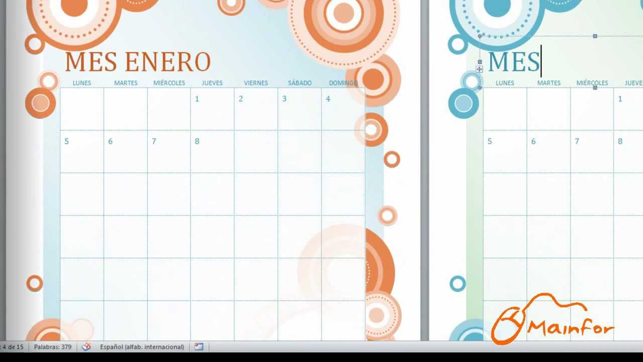 Calendario Mensual Word.Tutorial Word Creacion De Calendarios