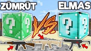 SİLAHLI ELMAS VS ZÜMRÜT ŞANS BLOKLARI CHALLENGE - Minecraft