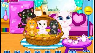 Кот Том и Анджела уборка детской комнаты Мультик игра для детей