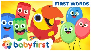 Toddler Learning Video Words w Color Crew & Larry | Learn Colors & ABC Alphabet | BabyFirst TV