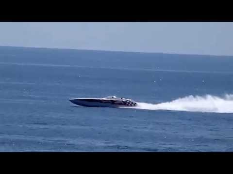 An offshore power boat - racing off the coast of Monaco