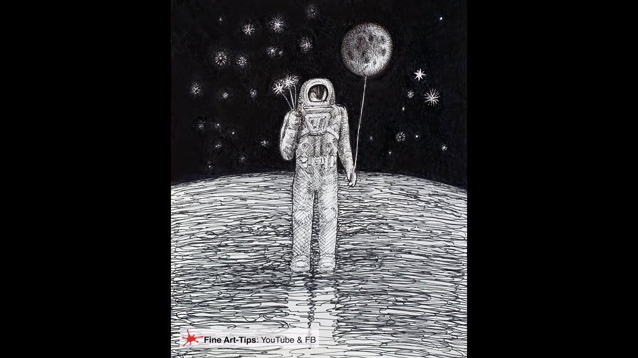 HOW TO DRAW AN ASTRONAUT WITH PEN AND INK (Surrealistic)