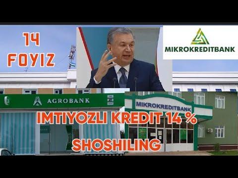 KREDIT YOSHLARGA IMTIYOZLI KREDIT 14% AGROBANK. MIKROKREDITBANK. SHOSHILING