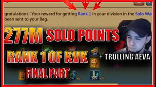 277M SOLO POINT - RANK 1 OF KVK FINAL PART + TROLLING AEVATREX - Lords mobile