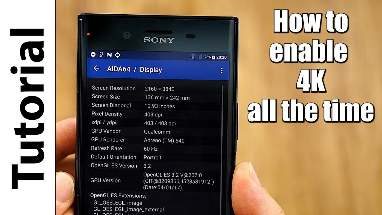 Sony Xperia XZ Premium | How to enable 4K all the time