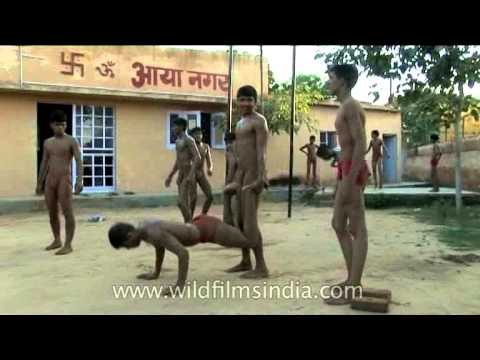 Warm up session for traditional Indian wrestlers