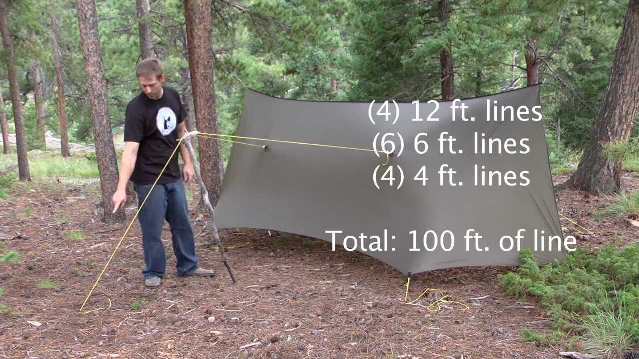 how to set up a tarp using a ridgeline