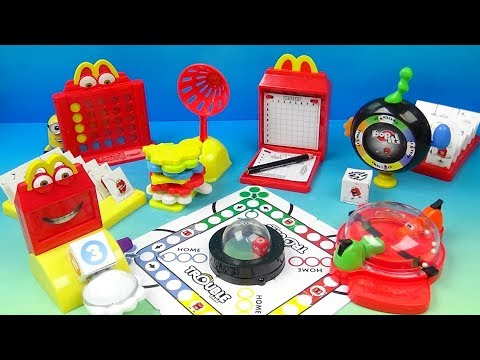 2018 Hasbro Gaming Set Of 8 McDonalds Happy Meal Kids Toys Video Review
