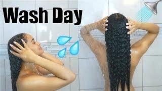 Detailed Wash Day Routine START TO FINISH   Transitioning Hair
