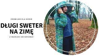 Długi sweter na zimę z włóczki od Biferno!