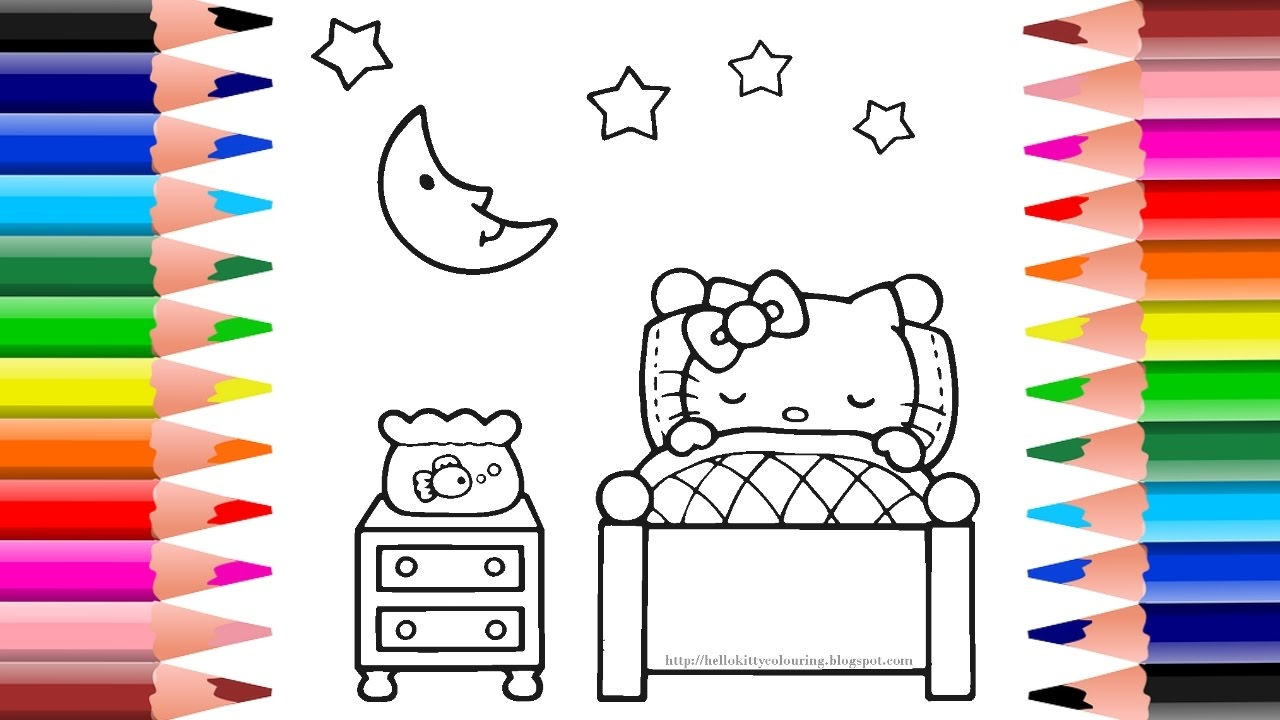 hello kitty bedtime coloring pages coloring hello kitty for kids