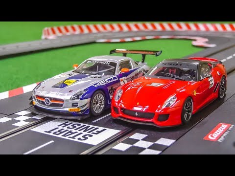 Carrera slotcar Racetrack gets unboxed! Mercedes SLS! Ferrari 599XX!
