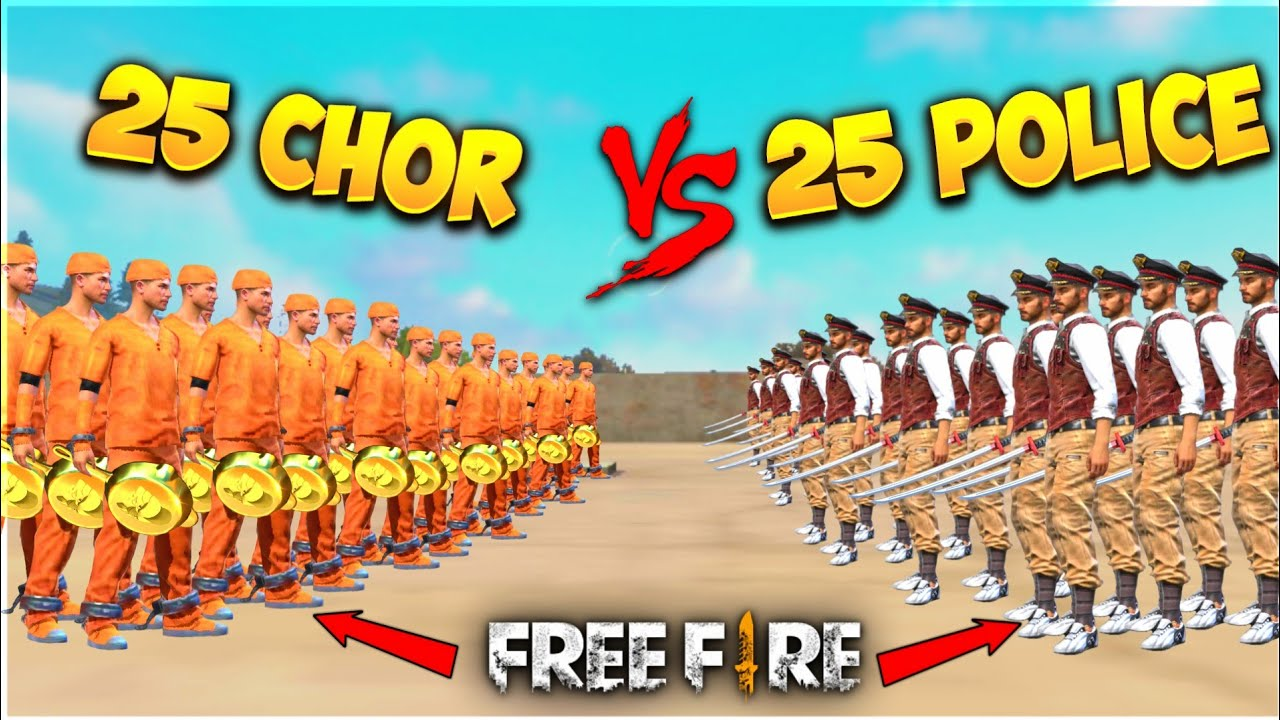 25 Chor Vs 25 Police On Factory Roof In Free Fire - Who Will Win - Garena Free Fire