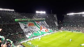 Real Betis - Sevilla fantastic atmosphere and ultra tifo when the players enger the pitch 10.10.2019