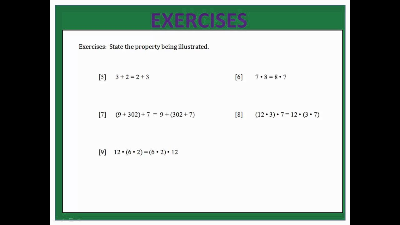worksheet Commutative Associative And Distributive Properties Worksheet properties associative commutative distributive youtube