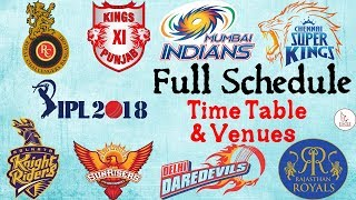 IPL 2018 SCHEDULE: Full Fixtures of Matches to be played by CSK, MI, SRH, RCB, KXIP, KKR, DD & RR