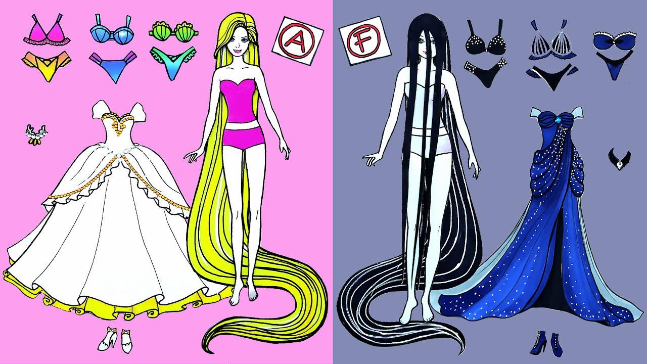 Paper Dolls Dress Up - Wedding Rapunzel & Sadako Dresses Handmade Quiet Book - Barbie Story & Crafts