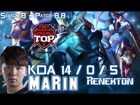 TOP MaRin RENEKTON vs KARMA Top - Patch 8.8 KR Ranked