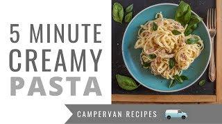 FIVE MINUTE Creamy Ham Pasta! One Pot Camping Recipes 😊🚐🌳🎪