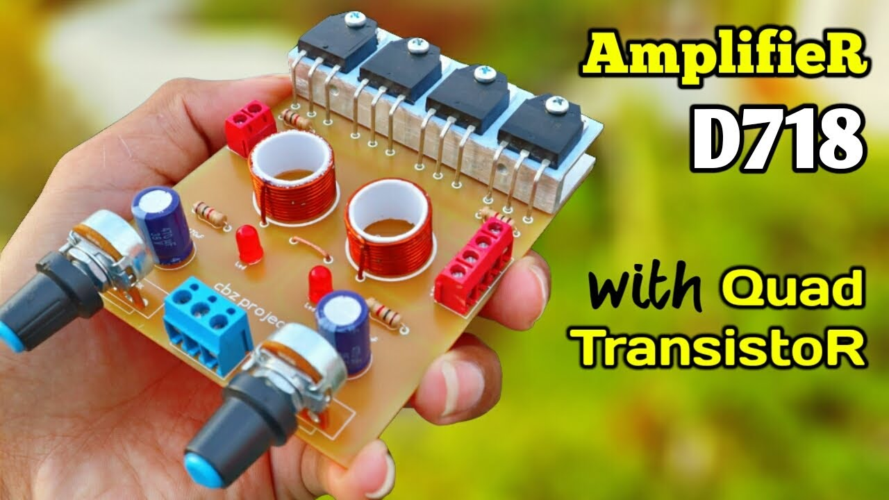 DIY Powerful Bass Stereo Amplifier With Quad D718 Transistors | JLCPCB
