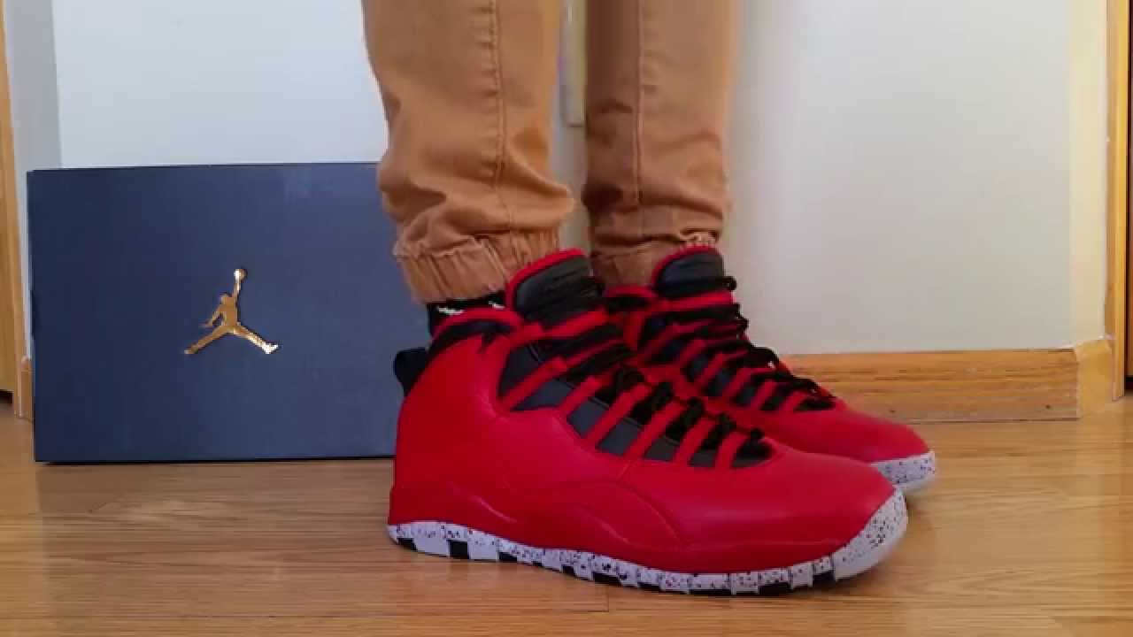 online store 389d7 dda61 NIKE AIR JORDAN 10 X RETRO 30TH AS ALL-STAR BULLS OVER BROADWAY GYM RED NYC  2015 ON FEET REVIEW!