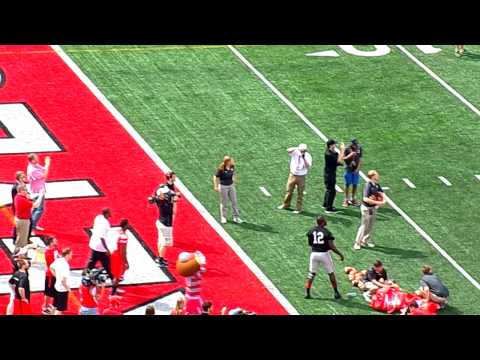 Troy Smith vs JT Barrett vs Cardell Jones in Throwing contest 4-18-15
