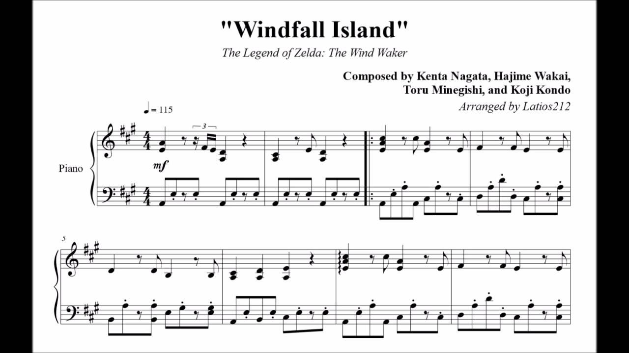 The Legend Of Zelda The Wind Waker Windfall Island Piano Sheet Music