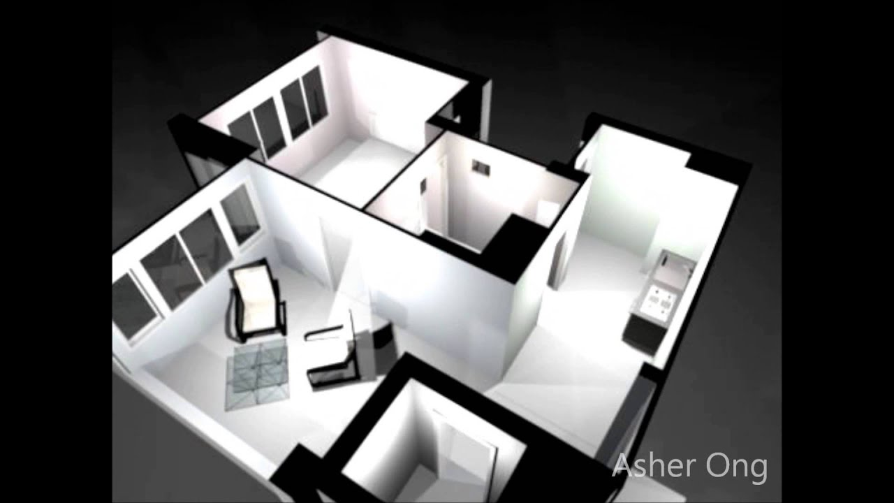 2 Room HDB Flat, 2 Room Studio Apartment, 2SA Model Floor Plan Typicial Layout  3D   YouTube