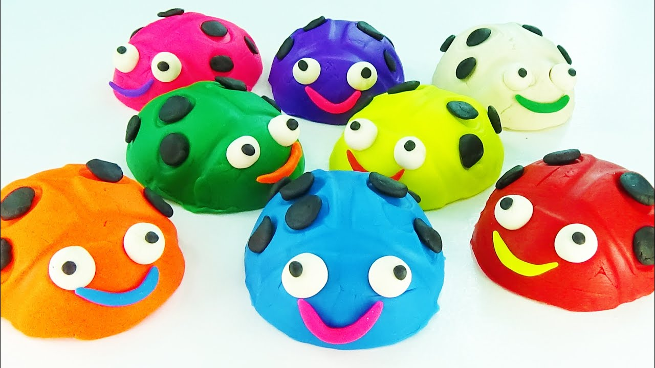 Play and Learn Colours with Play dough Bugs Vehicle Molds Fun ...