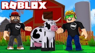 WORKING AT FARM WITH MY DAD in ROBLOX FARMTOWN