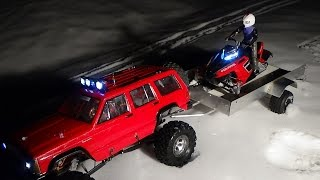Rc snowmobile polaris rush brushless 7,4 v on trailer,ride and jumping.