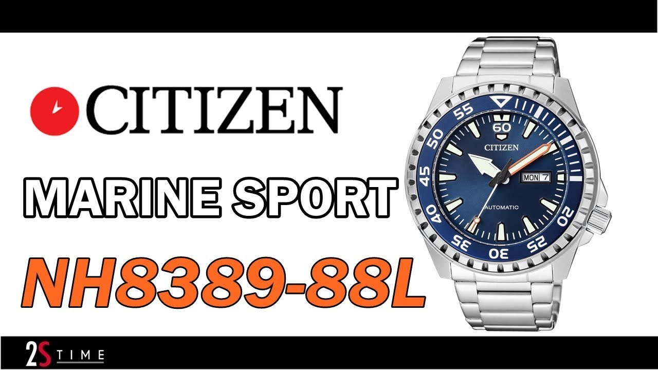 b0d05f56a CITIZEN Marine Sport NH8389-88L Automatic Mens Watch 100m - YouTube