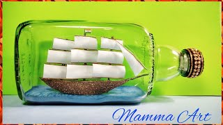 DIY- How to make Ship in a Bottle with waste glass bottle and invitation card | Waste Material Craft