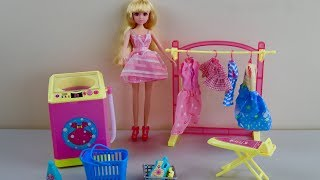 Chinese Barbie Doll Dream Bedroom & really spin washing machine laundry Toys