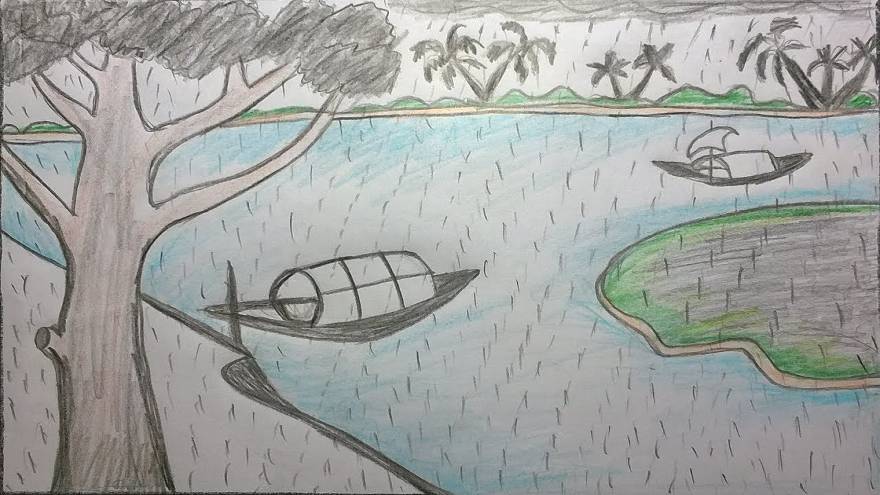 How to draw rainy season scenery by pencil step by step